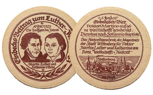 """Bierdeckel der Einbecker Brauhaus AG aus dem """"Luther-Jahr"""" 1983."""