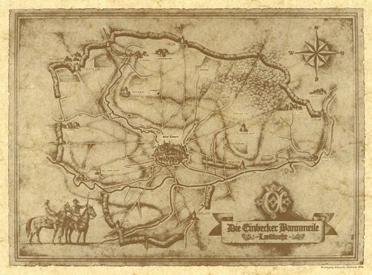 Zum 600-jährigen Bierjubiläum wurde die historische Karte der Einbecker Landwehr erneuert.