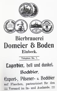 Anzeige der Brauerei Domeier & Boden in Einbeck.