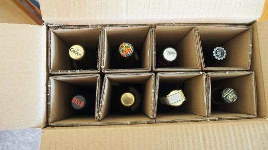 Bierselect-Karton mit acht Flaschen.