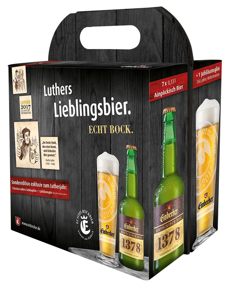 """Anlässlich des Jubiläums """"500 Jahre Reformation"""" gibt es eine Sonder-Geschenkverpackung mit sieben Flaschen Luthers Lieblingsbier und einem limitierten Jubiläumsglas. Foto: Einbecker Brauhaus"""